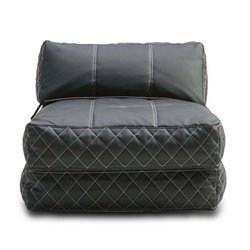 Pemberly Row Leather Convertible Bean Bag Chair Bed in Black