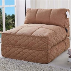 Pemberly Row Convertible Bean Bag Chair Bed in Cobblestone