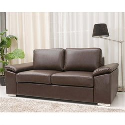 Pemberly Row Leather Loveseat in Coffee