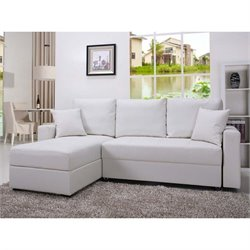 Pemberly Row Faux Leather Convertible Storage Sectional in White
