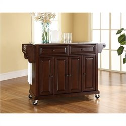 Pemberly Row Stainless Steel Top Mahogany Kitchen Cart