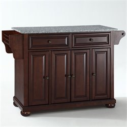 Pemberly Row Solid Granite Top Mahogany Kitchen Island