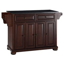 Pemberly Row Black Granite Top Mahogany Kitchen Island