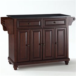 Pemberly Row Black Granite Top Mahogany Kitchen Cart