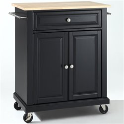 Pemberly Row Natural Wood Top Kitchen Cart in Black