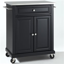 Pemberly Row Stainless Steel Top Kitchen Cart in Black