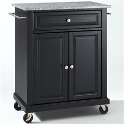 Pemberly Row Solid Granite Top Kitchen Cart in Black