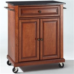 Pemberly Row Black Granite Top Classic Cherry Kitchen Cart