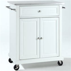 Pemberly Row Stainless Steel Top Kitchen Cart in White