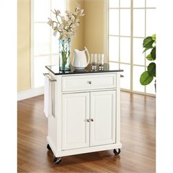 Pemberly Row Solid Black Granite Top Kitchen Cart in White