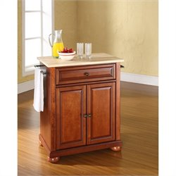 Pemberly Row Natural Wood Top Kitchen Island in Cherry