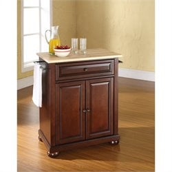 Pemberly Row Natural Wood Top Mahogany Kitchen Island