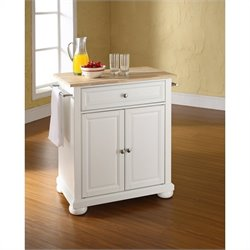 Pemberly Row Natural Wood Top Kitchen Island in White