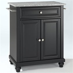 Pemberly Row Solid Granite Top Kitchen Island in Black