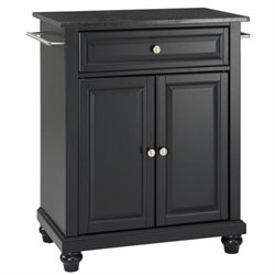 Pemberly Row Black Granite Top Kitchen Island in Black