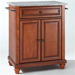 Pemberly Row Solid Granite Top Kitchen Island in Cherry