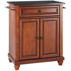 Pemberly Row Black Granite Top Kitchen Island in Cherry