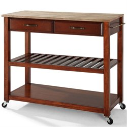 Pemberly Row Kitchen Cart Island Natural Wood in Classic Cherry