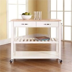 Pemberly Row Kitchen Cart Island Natural Wood in White