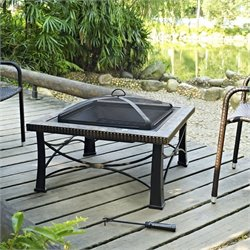 Pemberly Row Square Slate Firepit in Black