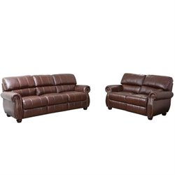 Pemberly Row 2 Piece Leather Sofa Set in Burgundy