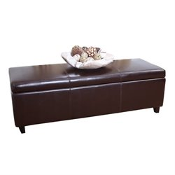 Pemberly Row Leather Storage Ottoman Bench in Dark Truffle