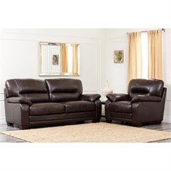 Pemberly Row 2 Piece Leather Sofa Set in Brown