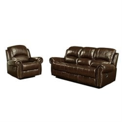 Pemberly Row Leather Reclining 2 Piece Sofa Set