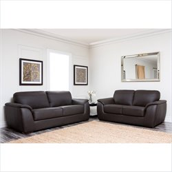 Pemberly Row 2 Piece Leather Sofa Set in Dark Brown