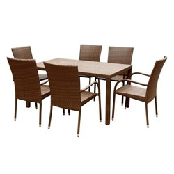 Pemberly Row 7 Piece Wicker Patio Dining Set in Brown