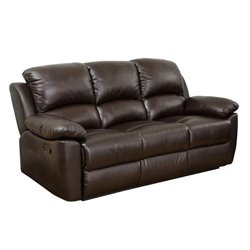 Pemberly Row Leather Reclining Sofa in Espresso