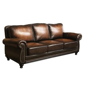 Pemberly Row Leather Sofa in Espresso