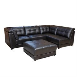 Pemberly Row 5 Piece Modular Leather Sectional in Black