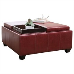 Pemberly Row Square Faux Leather Ottoman Coffee Table in Red