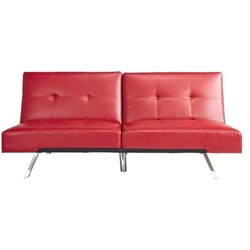 Pemberly Row Leather Convertible Sofa in Red