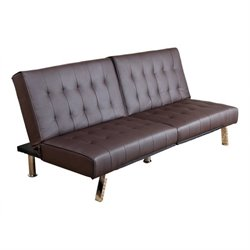 Pemberly Row Faux Leather Convertible Sofa in Dark Brown
