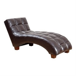 Pemberly Row Tufted Faux Leather Chaise Lounge in Dark Brown