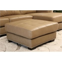 Pemberly Row Leather Ottoman in Beige