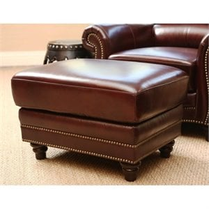 Pemberly Row Leather Ottoman in Dark Burgundy