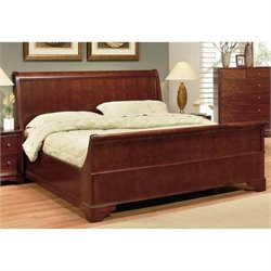 Pemberly Row Wood King Size Bed in Walnut
