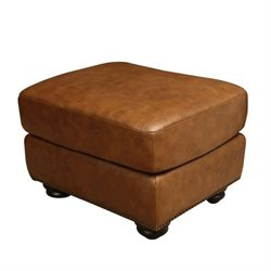 Pemberly Row Leather Ottoman in Camel Brown