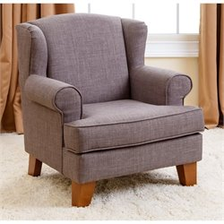 Pemberly Row Radcliffe Kids Wingback Fabric Mini Armchair in Gray