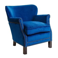 Pemberly Row Marcie Kids Fabric Nailhead-Trim Armchair in Navy Blue