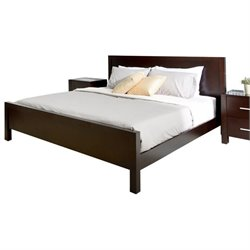 Pemberly Row Wood California King Panel Bed in Cappuccino