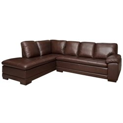 Pemberly Row Leather Left Facing Sectional in Brown