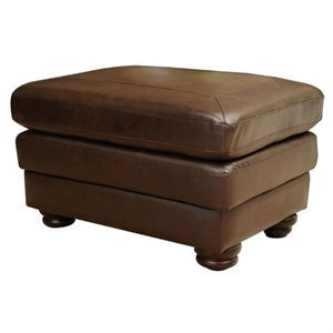 Pemberly Row Leather Ottoman in Brown
