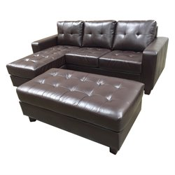 Pemberly Row Leather 3 Piece Reversible Sectional with Ottoman