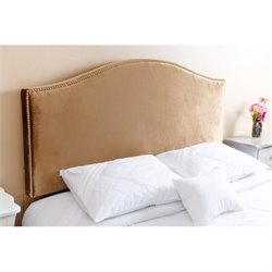 Pemberly Row Queen Full Nail Head Trim Headboard in Gold