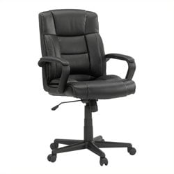 Pemberly Row Leather Office Chair in Black