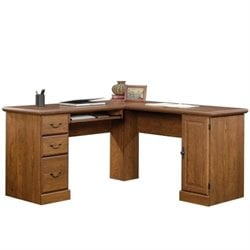 Pemberly Row L Shaped Computer Desk in Milled Cherry